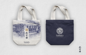 los angeles japanese garden tote bags